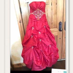 Stunning Tiffany beaded Red Strapless Dress